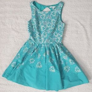 Lauren Conrad Green Floral Cocktail Dress SZ 6